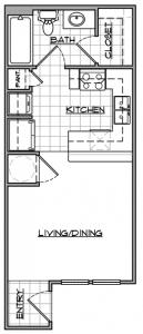 Studio / 1 Bath / 377 sq ft / Availability: Please Call / Deposit: $150