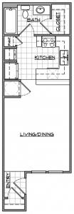 Studio / 1 Bath / 457 sq ft / Availability: Please Call / Deposit: $150